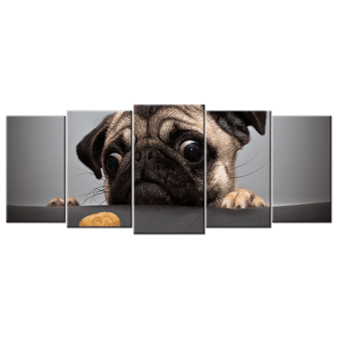 Image of Pug Canvas Wall Art Large Frame (5 panel)