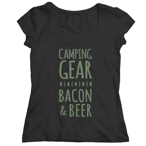 Camping Gear Bacon And Beer Shirt
