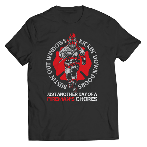 Image of Bustin Out Windows Firefighter T Shirt