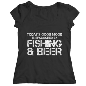 Todays Good Mood Is Sponsored By Fishing And Beer T Shirt