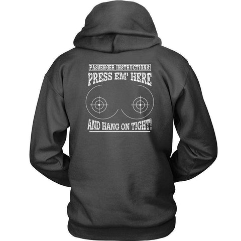 Image of PASSENGER INSTRUCTIONS PRESS'EM HERE AND HANG ON TIGHT Biker T-Shirt