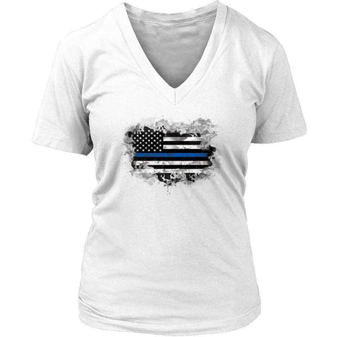 Image of Police Officer Heart Flag T Shirt