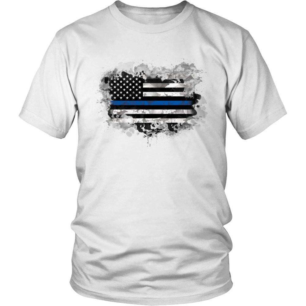 Police Officer Heart Flag T Shirt