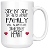 Side By Side Or Miles Apart Family Will Always Be Connected By Heart Mug