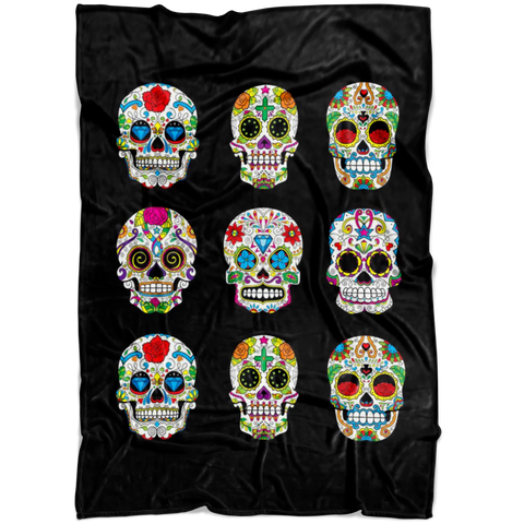 Image of Sugar Skull Fleece Blanket