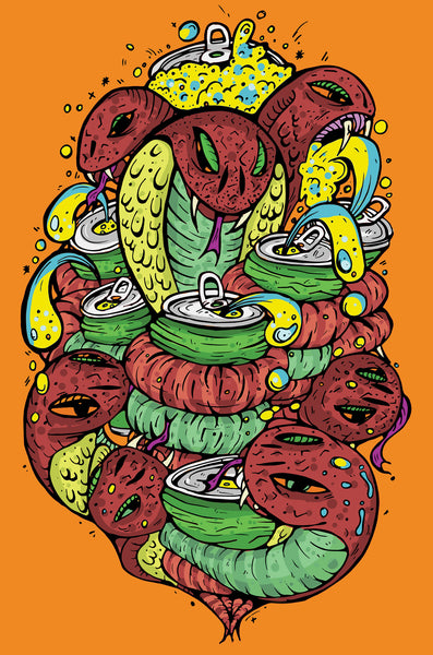 snakes and beers - Beautiful, Affordable, Curated Artwork - TheArtBowl.com