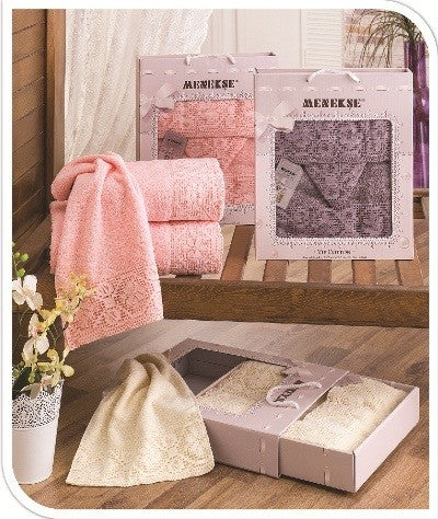 "3 pcs ""Dantel"" Towel Set 100% Cotton"