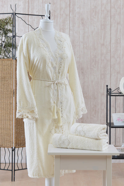 "3 Pcs ""SACHA"" Bathrobe Set 100% Cotton"