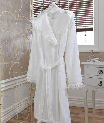 """Luna"" Ladies Bathrobe With Hood 100% Soft Cotton"