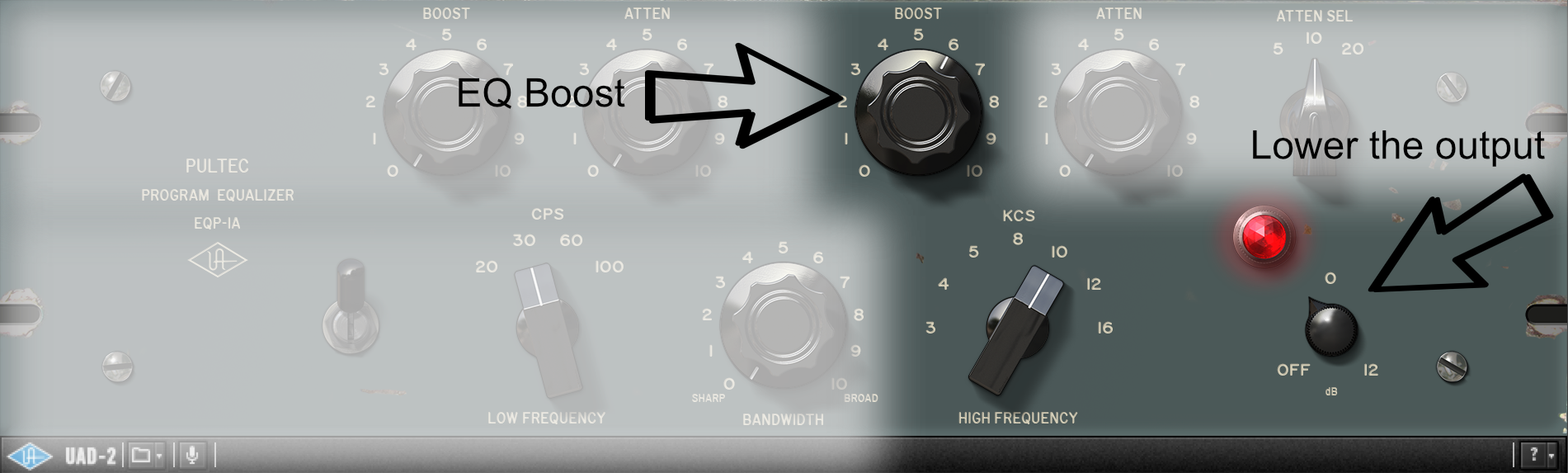 Level matching using UAD Pultec EQ.