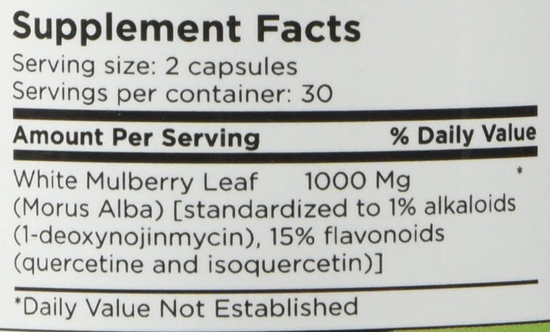 White Mulberry Leaf Extract - 1000mg  (60 capsules)