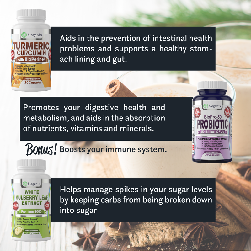 A Digestive Health Bundle Supplement Stack -  Includes Probiotic + Turmeric + White Mulberry Leaf Extract - Bioganix