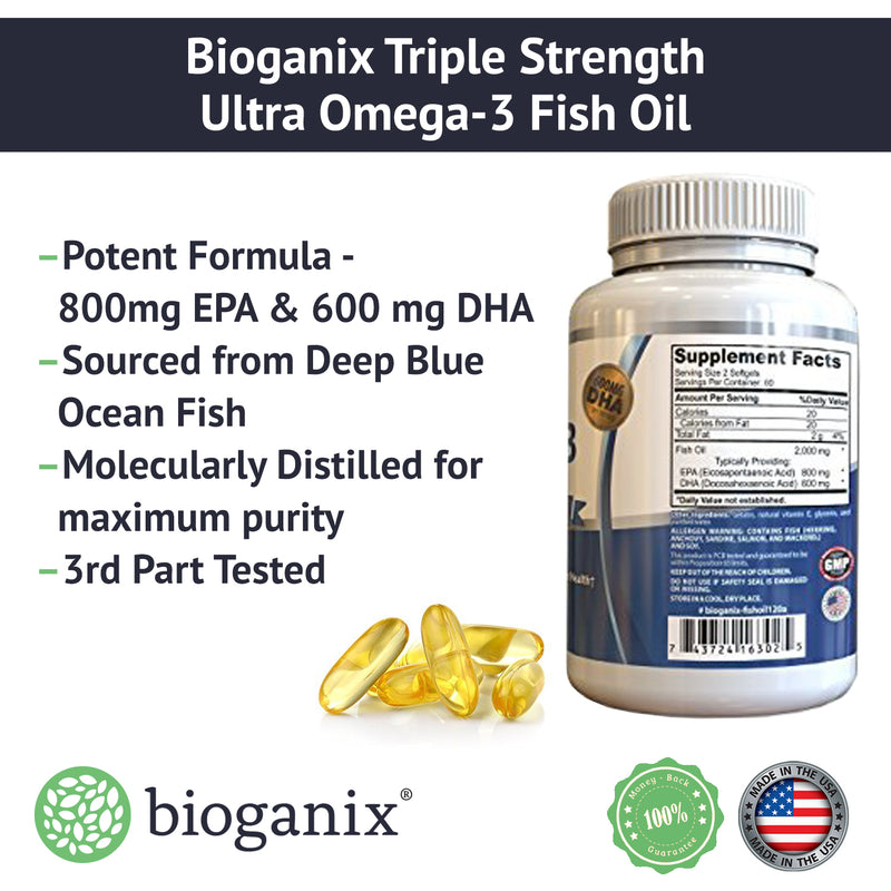 Ultra Strength Omega-3 Fish Oil 2000mg /w 800 EPA + 600 DHA (120ct) - Bioganix