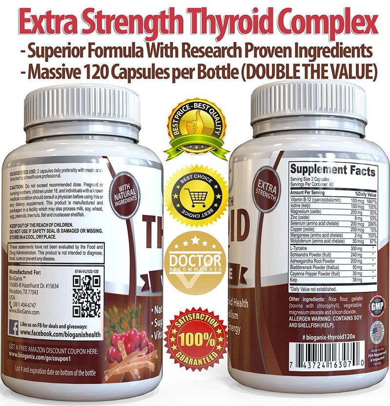 Thyroid Support Complex Supplement (120 Caps) - Bioganix