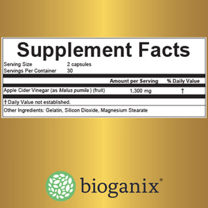 Bioganix Apple Cider Vinegar Capsules for Weight Loss, 1300mg, 60 ct - Bioganix