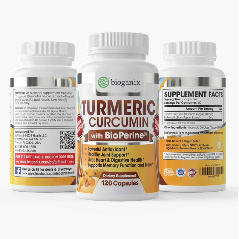 Bioganix - Turmeric Curcumin Supplement with BioPerine 1000mg (120 Capsules) | 2 Month Supply of All Natural Effective Joint Pain Relief & Anti Inflammatory | Vegan Pills Support Brain & Heart Health