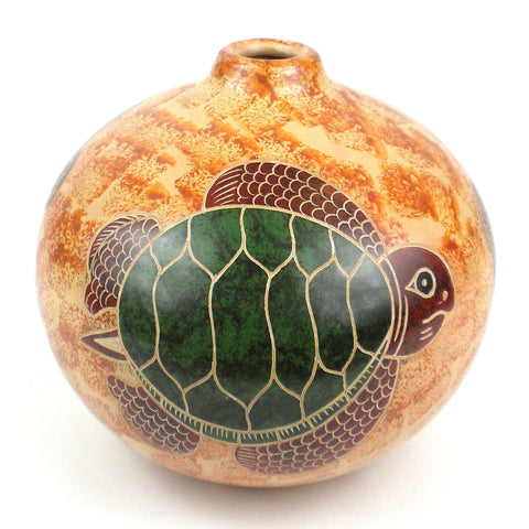 4 inch Tall Vase - Turtle on Sand Handmade and Fair Trade