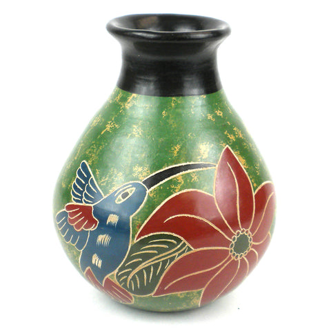 5 inch Tall Vase - Green Bird - Esperanza en Accion