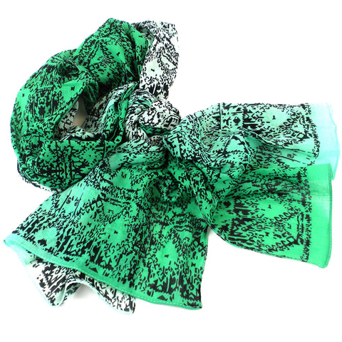 Three Shades Green Cotton Scarf - Asha Handicrafts