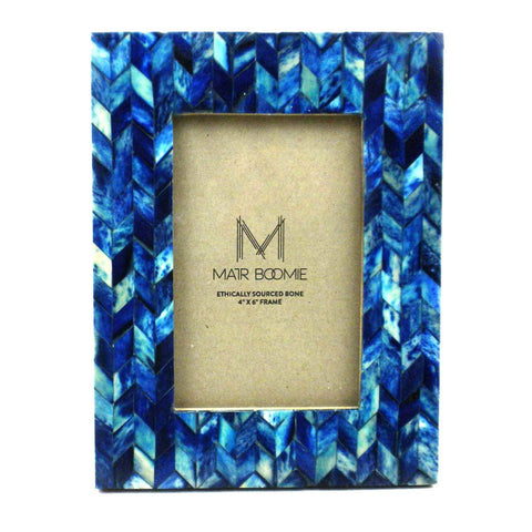 Blue Chevon Bone Wood Frame - Matr Boomie (P)