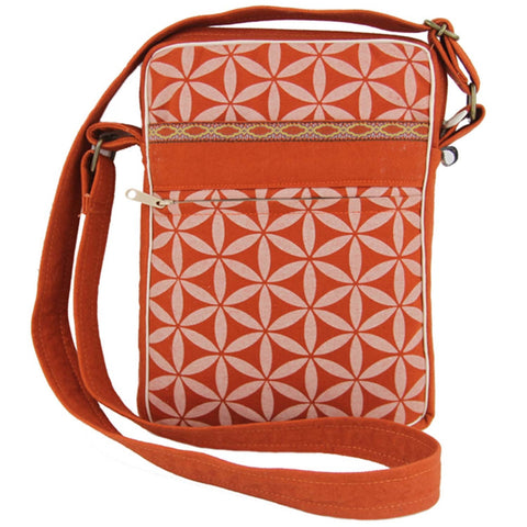Flower of Life Festival Bag Terracotta/Cream - Global Groove (B)
