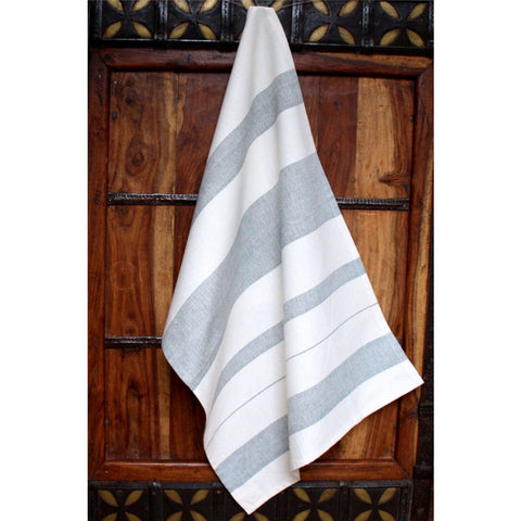 Grey Stripes Cotton Kitchen Towel - Sustainable Threads (L)