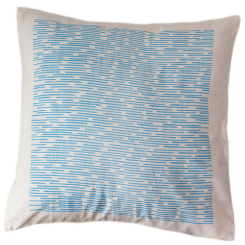 Blue Dashes Pillow Cover 16 by 16 - Sustainable Threads (L)
