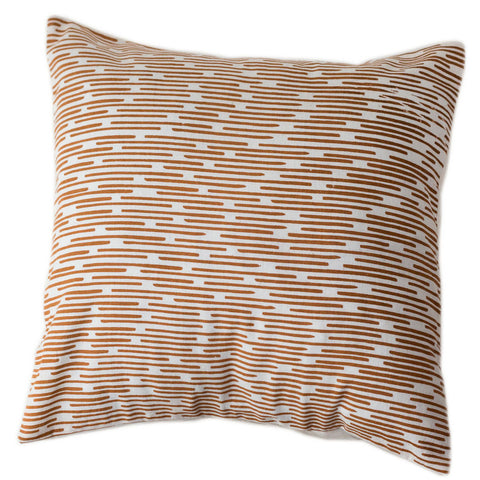 Copper Dashes Pillow Cover 16 by 16 - Sustainable Threads (L)