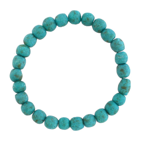 Recycled Glass Bead Bracelet Teal - Global Mamas