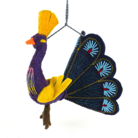 Indigo Peacock Felt Holiday Ornament - Silk Road Bazaar (O)