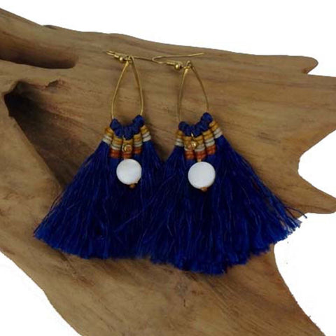 Fringe Earrings - Cobalt - Global Groove (J)