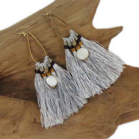 Fringe Earrings - Silver - Global Groove (J)