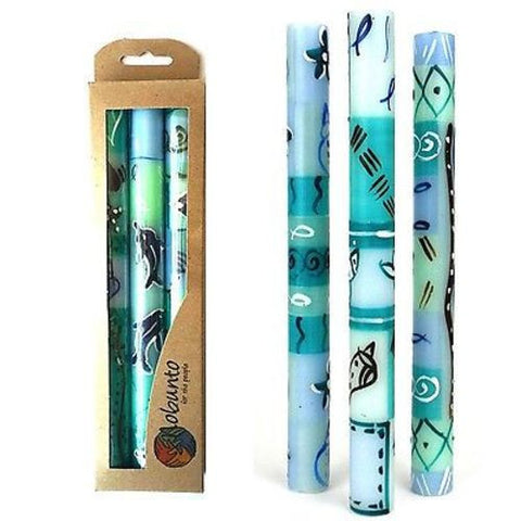 Set of Three Boxed Tall Hand-Painted Candles - Samaki Design - Nobunto