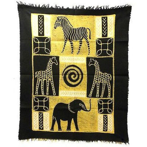 Four African Animals Batik in Black/White - Tonga Textiles