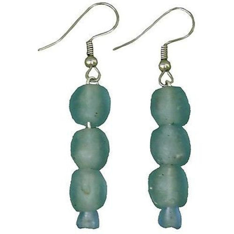 Sky Blue Pearl Glass Bead Earrings Handmade and Fair Trade