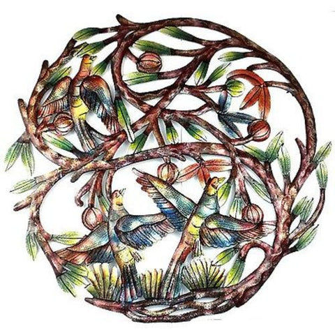 Tree of Life Hand Painted 24-inch Metal Wall Art - Croix des Bouquets