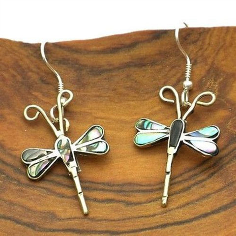 Abalone and Alpaca Silver Dragonfly Earrings - Artisana