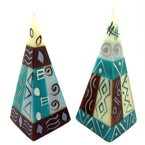 Set of Two Hand-Painted Pyramid Candles - Maji Design - Nobunto