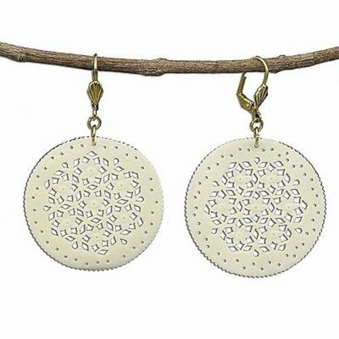 Lacy Round Bone Earrings in Natural - WorldFinds