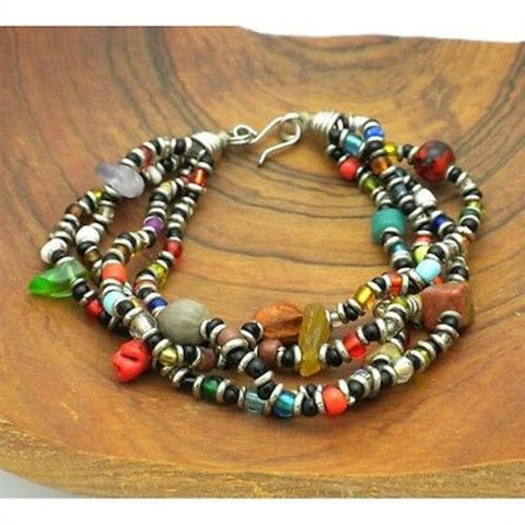 Beaded Multicolored 4 Strand Bracelet - Zakali Creations