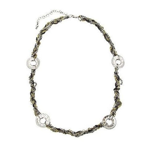 Dotted Disc Metallic Chainlink Necklace - WorldFinds