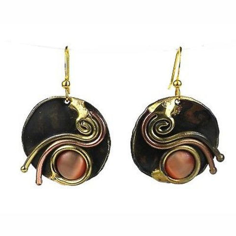 Peach Tiger Eye Swirl Earrings - Brass Images (E)