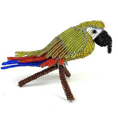 Handmade Beaded Parrot on Branch - South Africa