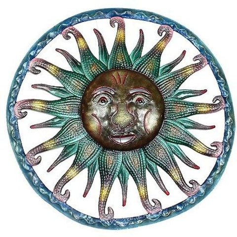 Hand Painted Sun Metal Wall Art - Croix des Bouquets