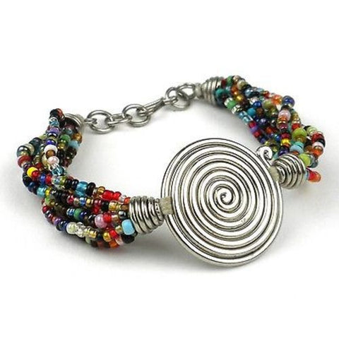 Single Spiral 'Progress' Multicolor Beaded Bracelet - Zakali Creations