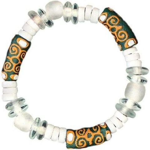 Recycled Glass Adinkra-Strength Bracelet in Green - Global Mamas