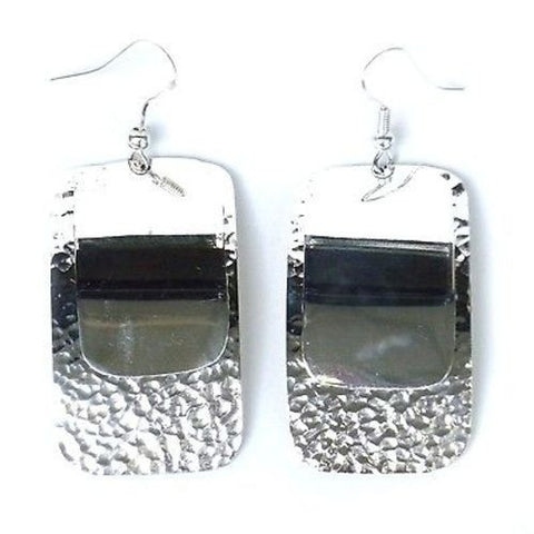 Large Silverplated Double Rectangle Earrings - Artisana