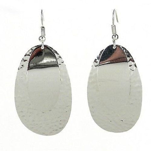 Large Silverplated Double Oval Earrings - Artisana