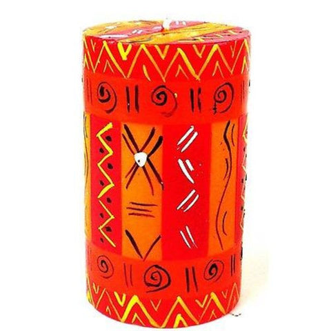 Single Boxed Hand-Painted Pillar Candle - Zahabu Design - Nobunto