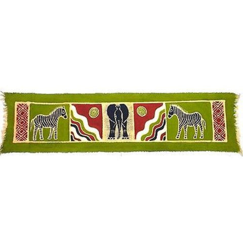 Horizontal Green Zebra and Elephant Batik - Tonga Textiles